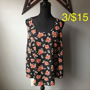 FADED GLORY Black red roses floral satiny tank top